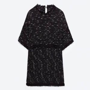 NWT Zara Black Tweed Dress XS